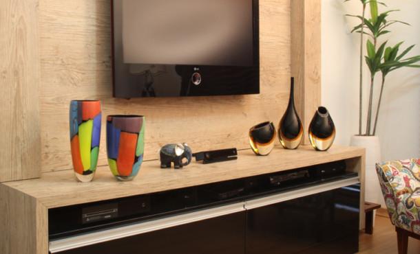 Decoração para o rack da televisão