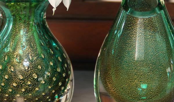 Vaso Mini 3 Tela Verde c/ Ouro - Gota Mini Baixa Verde c/Ouro - Gota Mini Alta Verde c/ Ouro.